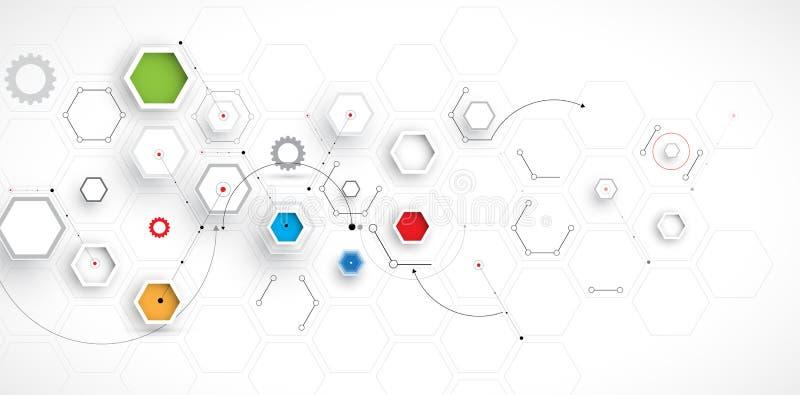 Abstrakter Hexagonhintergrund Polygonales Design der Technologie vektor abbildung