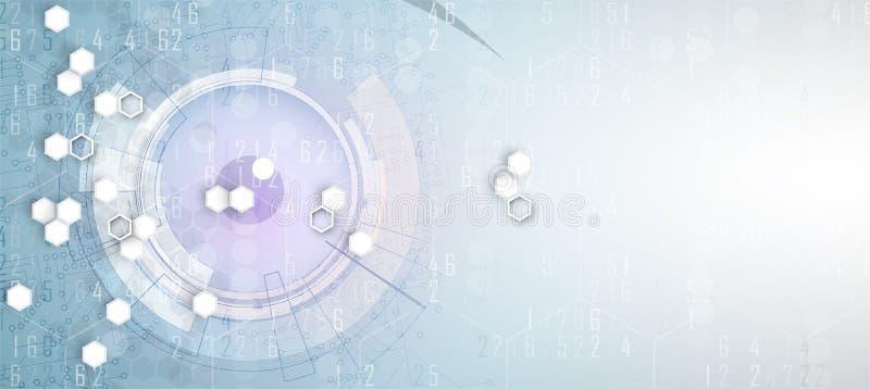 Abstrakter Hexagonhintergrund Polygonales Design der Technologie Digita stock abbildung