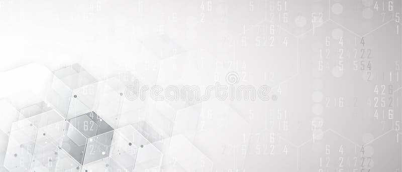 Abstrakter Hexagonhintergrund Polygonales Design der Technologie Digita vektor abbildung