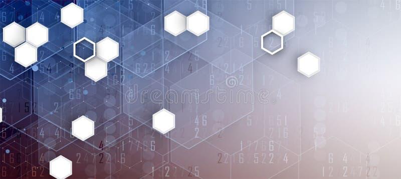 Abstrakter Hexagonhintergrund Polygonales Design der Technologie Digita lizenzfreie abbildung