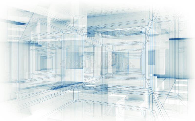 Abstrakter Hightech- Hintergrund Weißer Innenraum 3d lizenzfreie abbildung