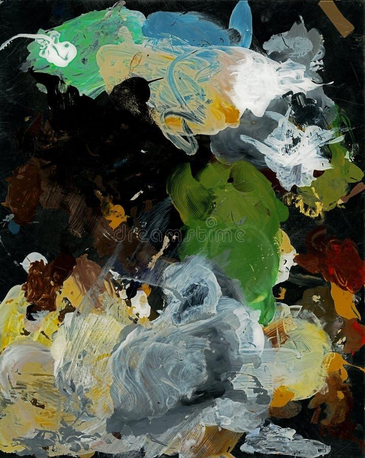 Abstrakter Hintergrund, Ölfarben Kunstpalette des Acryls, Ölfarben abstrakter bunter szenischer Hintergrund lizenzfreie abbildung