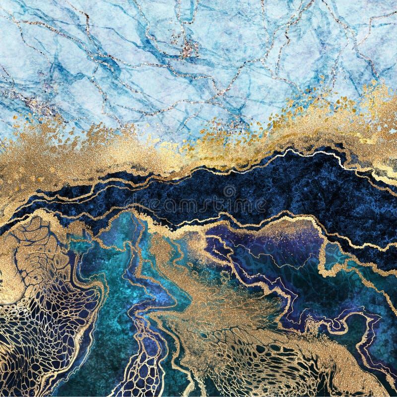 abstrakter Hintergrund, blauer Marmor, gefälschte Steintextur, flüssige Farbe, Goldfolie und Glitter, bemalte, künstlich marmor stockfotos