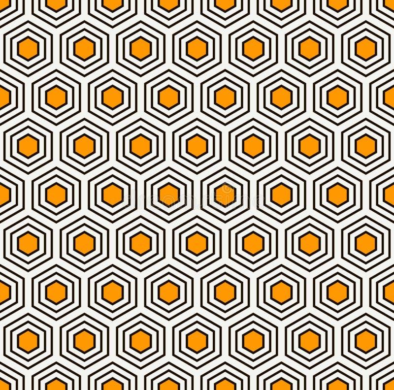 Abstrakter Hintergrund der Bienenwabe Blaue Farben wiederholten Hexagonfliesen-Mosaiktapete Nahtloses klassisches Oberflächenmust stock abbildung