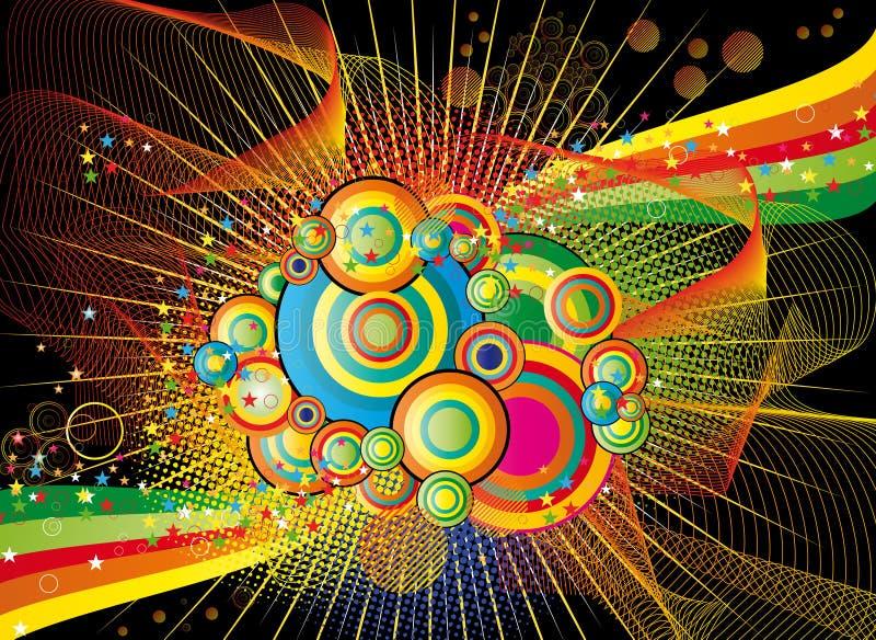 Abstrakter Hintergrund der Farbe mit Kreise nad-Sternen vektor abbildung