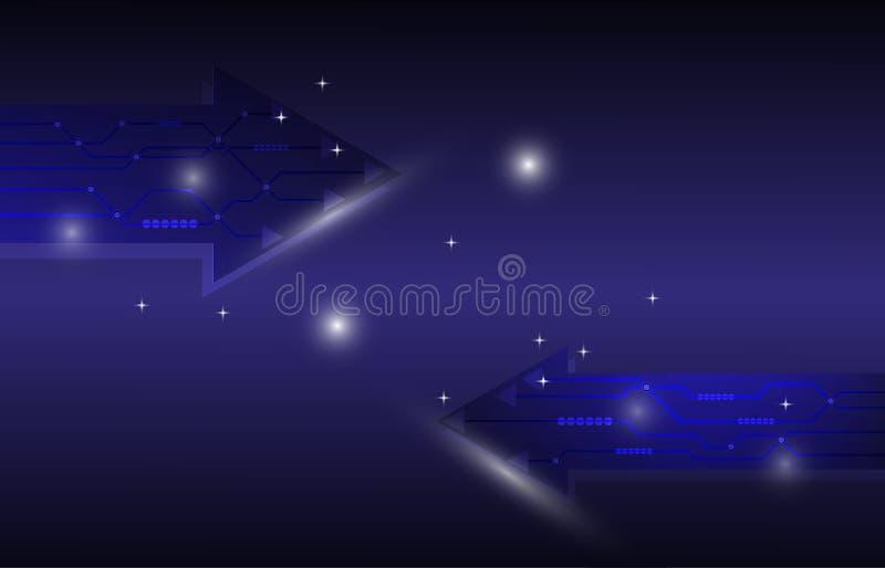 abstrakter Hintergrund der gegenüberliegenden Technologie des Pfeiles 2 stock abbildung
