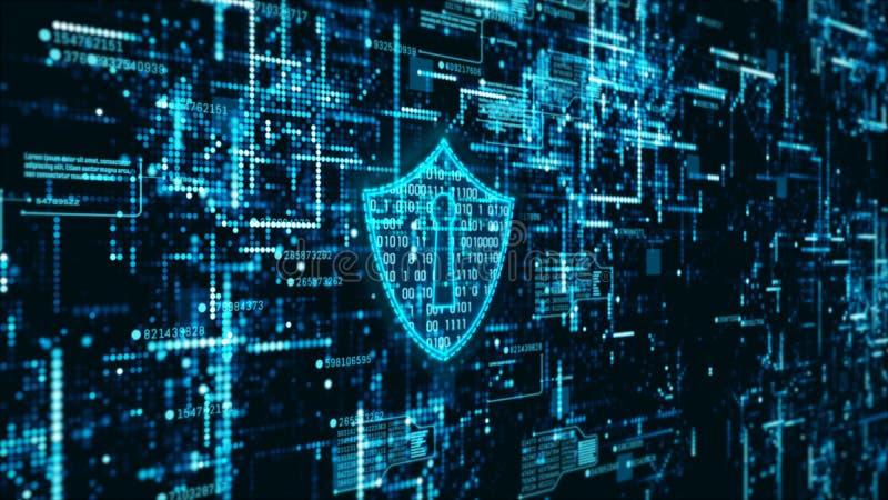 Abstrakter Hintergrund der High-Techen Informationen der Digitaltechnikinternetsicherheitsanzeige ganz eigenh?ndig geschrieben lizenzfreie abbildung