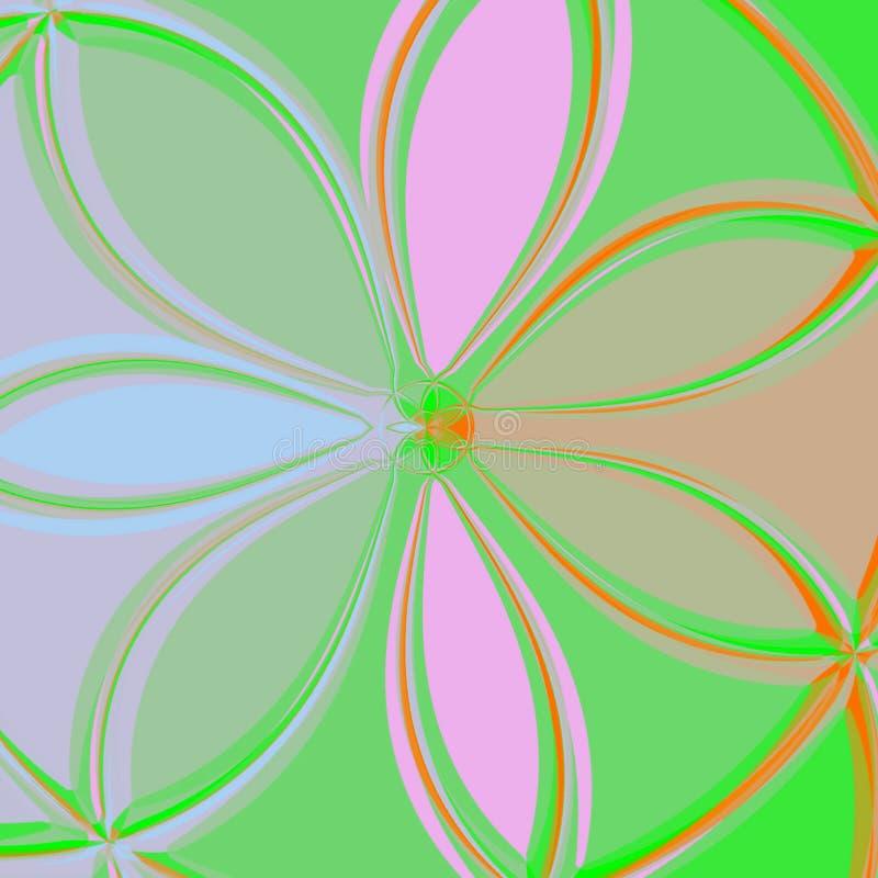 Abstrakter Hintergrund der Illustration der künstlichen Blume in den grünen und rosa Farben lizenzfreie abbildung