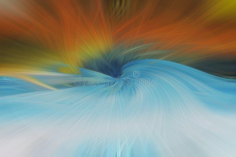 Abstrakter Hintergrund der schönen Kunst Blau, orange, Grün stockbilder