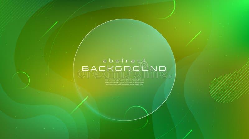 Abstrakter Hintergrund der Steigung flüssige grüne gelbe Farb Flüssigkeit formt futuristisches Konzept Kreative Bewegung geometri vektor abbildung
