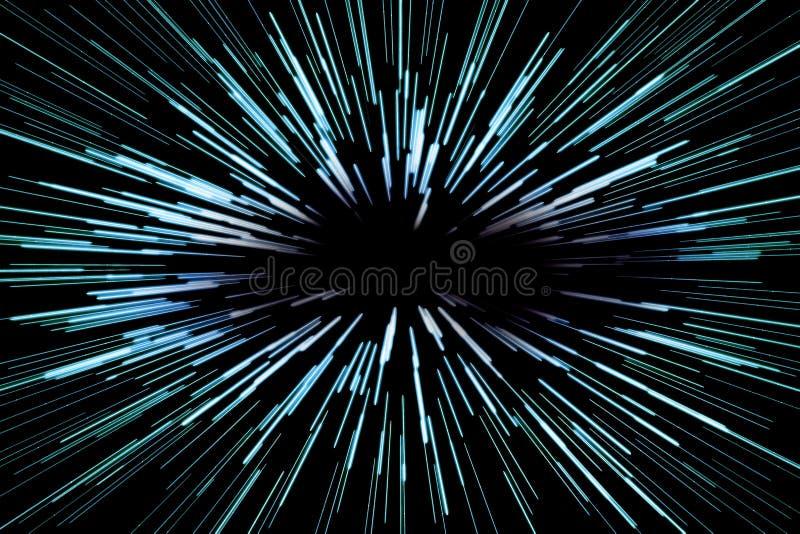Abstrakter Hintergrund der Supergeschwindigkeit mit blauen Linien auf schwarzem Hintergrund, schneller Vorlauf, Konzept stock abbildung