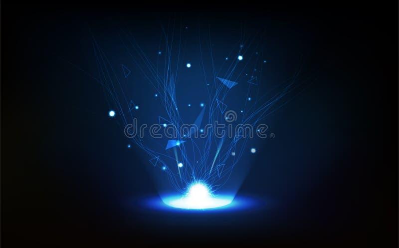 Abstrakter Hintergrund der Technologie, Polygon, Netz, Linien Verbindung mit Blitzvektorillustration vektor abbildung