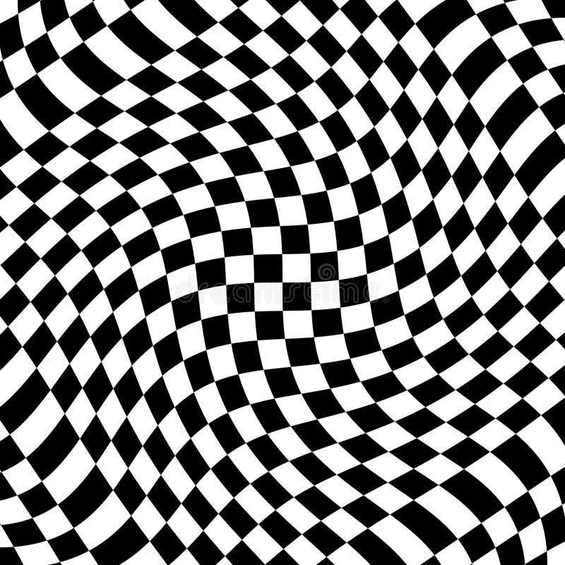 Abstrakter Hintergrund der verdrehten Schwarzweiss-Streifen der Vektoroptischen täuschung stock abbildung