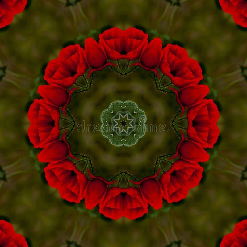 abstrakter Hintergrund des Blumenmusters eines Kaleidoskops lizenzfreie abbildung
