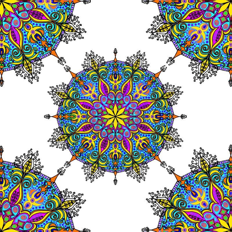 Abstrakter Hintergrund des Blumenmusters, kaleidoskopische geometrische Verzierung Kunst Schöner Kreis, Mandalaillustration stock abbildung