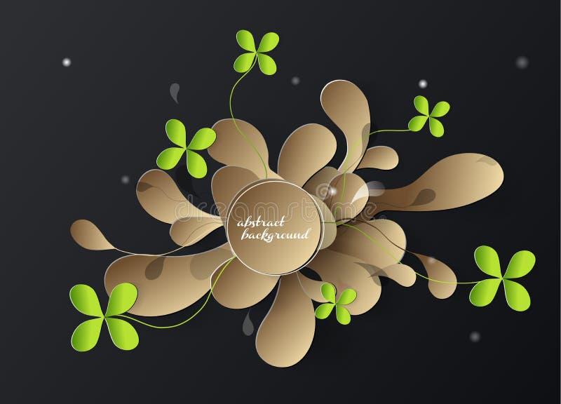 Abstrakter Hintergrund des Papiers 3d mit goldenen Blättern vektor abbildung