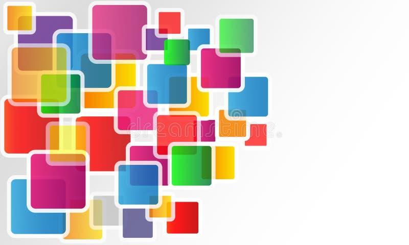 Abstrakter Hintergrund des Quadrats 3d, bunte Fliesen, geometrisch, Design lizenzfreie abbildung