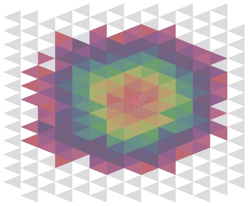 Abstrakter Hintergrund des Regenbogens der mehrfarbigen volumetrischen Illusion der Dreiecke einer runden Stelle von illustrati V stock abbildung