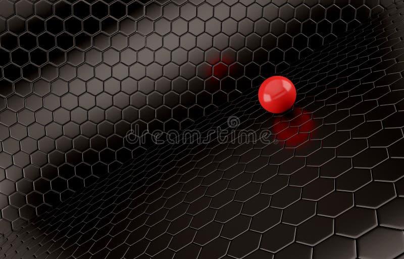 Abstrakter Hintergrund des roten Balls auf schwarzem Maschengitter vektor abbildung