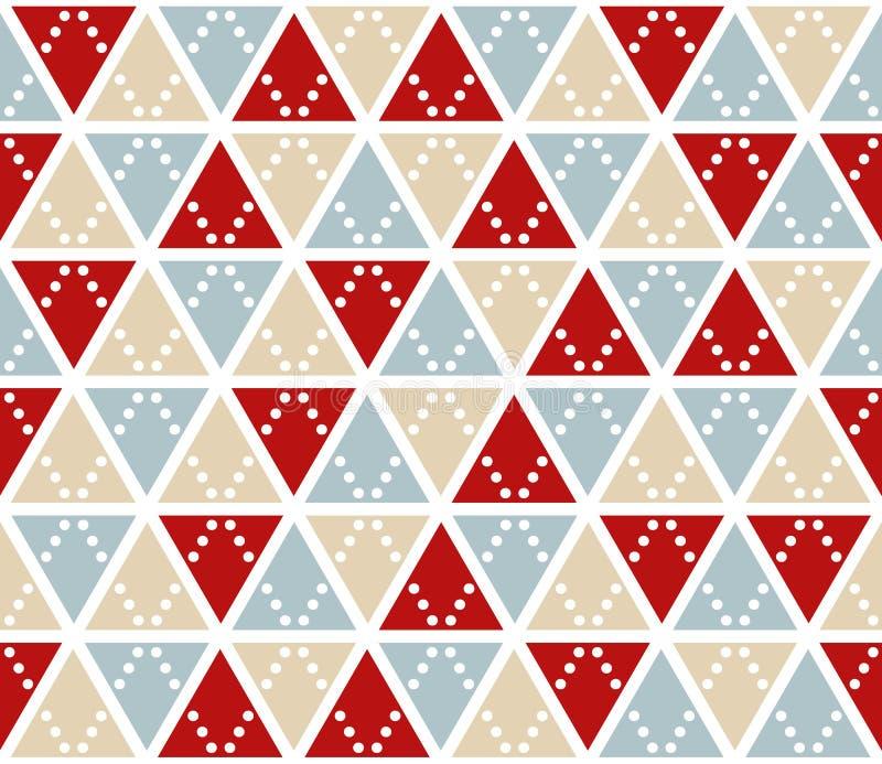 Abstrakter Hintergrund des Vektors, nahtloses Muster Weihnachten färbt Dreieckbeschaffenheit Rotes silbernes Goldgeometrisches Mo lizenzfreie abbildung