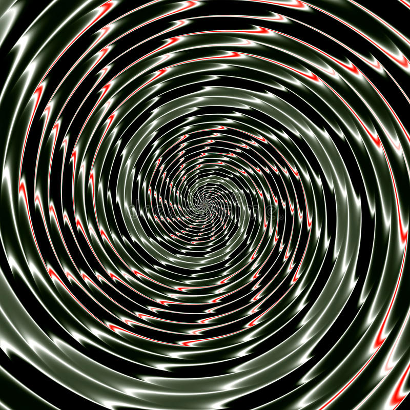 Abstrakter Hintergrund des Verflechtens des konzentrischen Glühens windt sich, eine Illusion der Bewegung schaffend stock abbildung