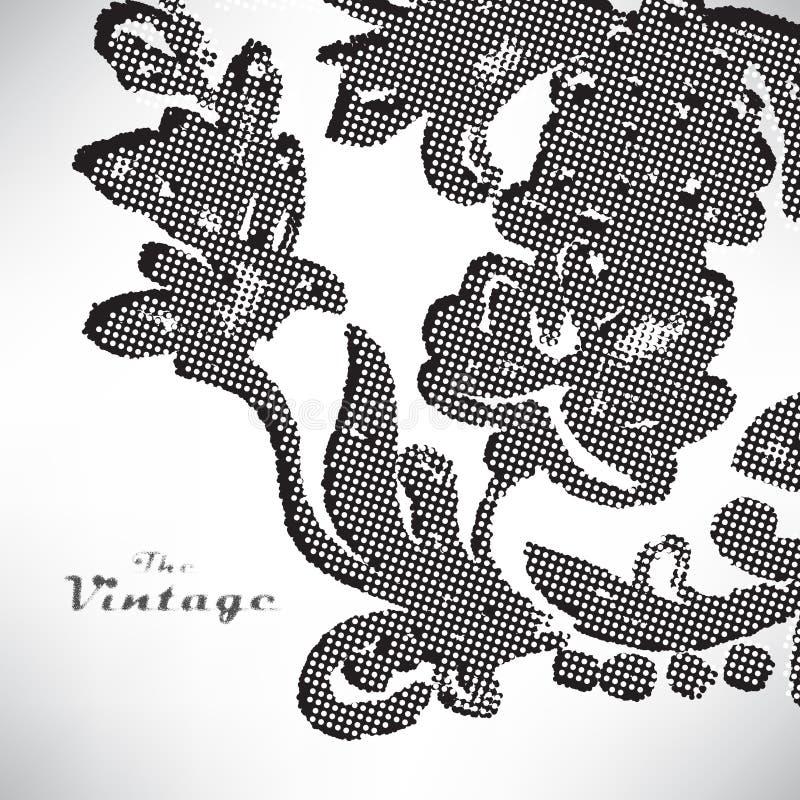 Abstrakter Hintergrund des Weinleselaubmusters auf weißem Hintergrund vektor abbildung