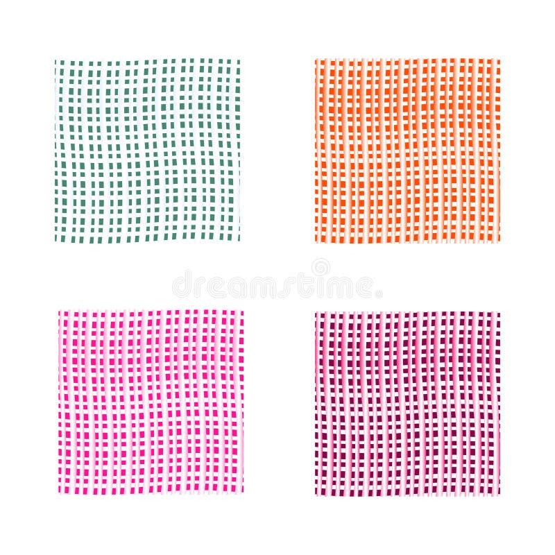 Abstrakter Hintergrund eingestellt in vier Farben Grüne, rosa, orange, violette Vektorhintergründe mit dünnen Linien stockfotografie