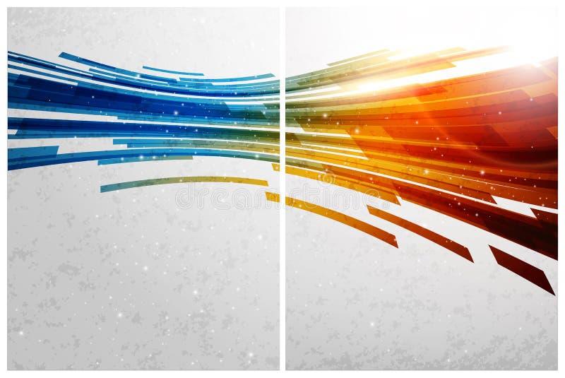 Abstrakter Hintergrund, Frontseite und Rückseite der Farbe vektor abbildung