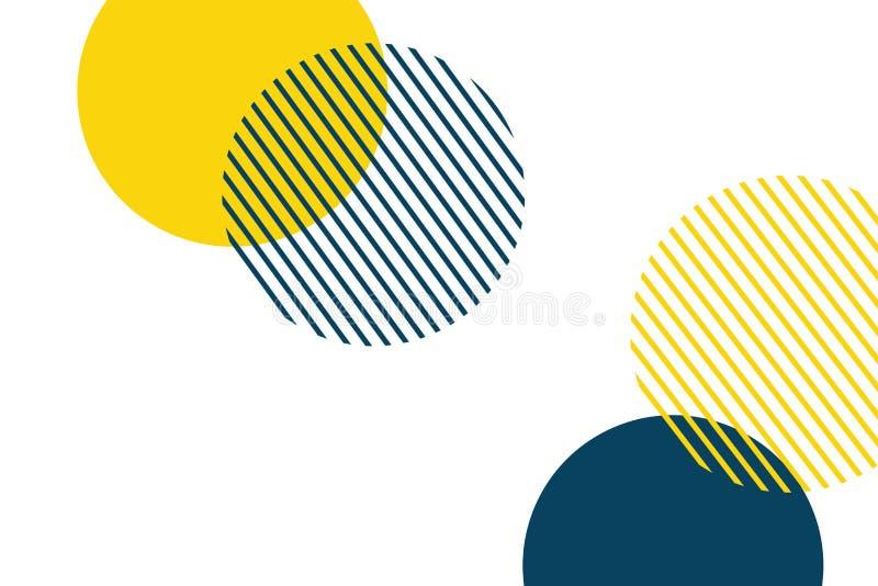 Abstrakter Hintergrund gemacht mit geometrischen Kreisen in den gelben und blauen Farben stock abbildung