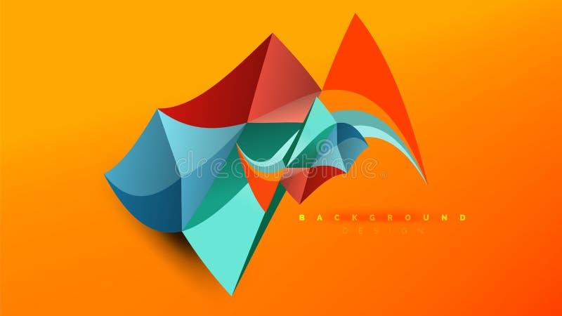 Abstrakter Hintergrund - geometrischer Origami redet Formzusammensetzung, dreieckiges niedriges Polykonzept des Entwurfes an Bunt vektor abbildung