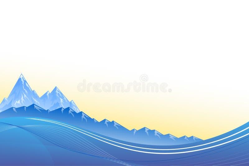 Abstrakter Hintergrund gestaltet Gebirgsblausonnenuntergang landschaftlich vektor abbildung