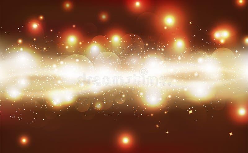 Abstrakter Hintergrund, glühendes Scheinfunkeln der goldenen Sterne, heller glänzender Vektor, kosmisches Konzept der Galaxie lizenzfreie abbildung