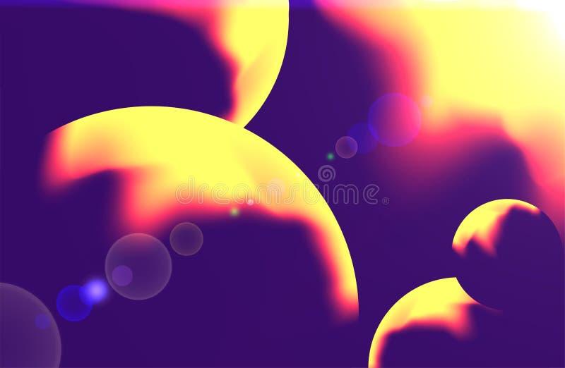 Abstrakter Hintergrund im Rosa, violett und gelb, wenn die planetarischen Kreise von der Galaxie und von der Supernova angespornt lizenzfreie abbildung