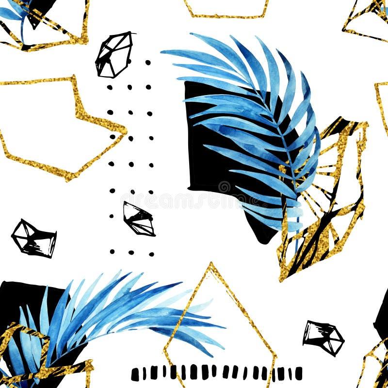 Abstrakter Hintergrund mit Aquarellpalmblättern, Edelsteingitter, goldene geometrische Formen stock abbildung