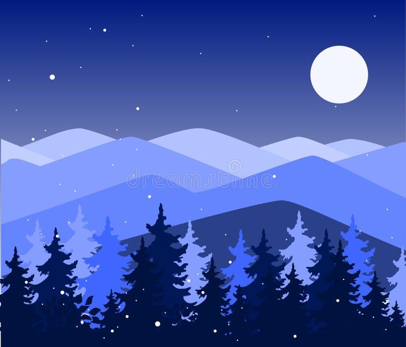 Abstrakter Hintergrund mit Bergen und Bäumen Waldwildnis und magische Winterlandschaft Schablone für Ihre Auslegung lizenzfreie abbildung
