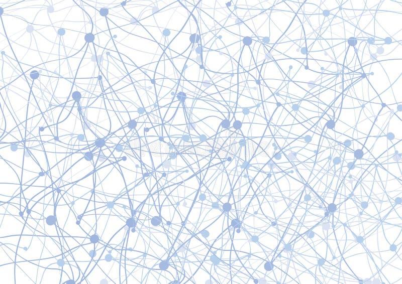 Abstrakter Hintergrund mit blauen Punkten und Netz stock abbildung
