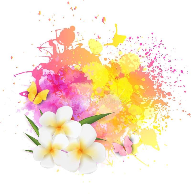 Abstrakter Hintergrund mit Blumen und Schmetterlingen vektor abbildung