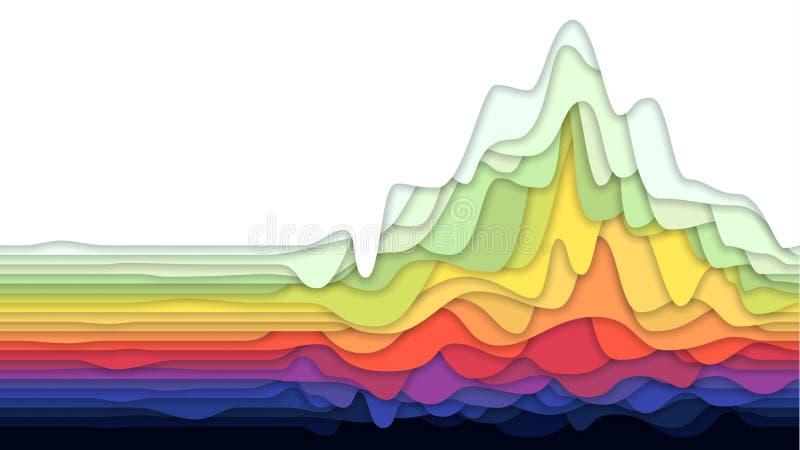 Abstrakter Hintergrund mit buntem überlagertem Papier, Vektorillustration stock abbildung