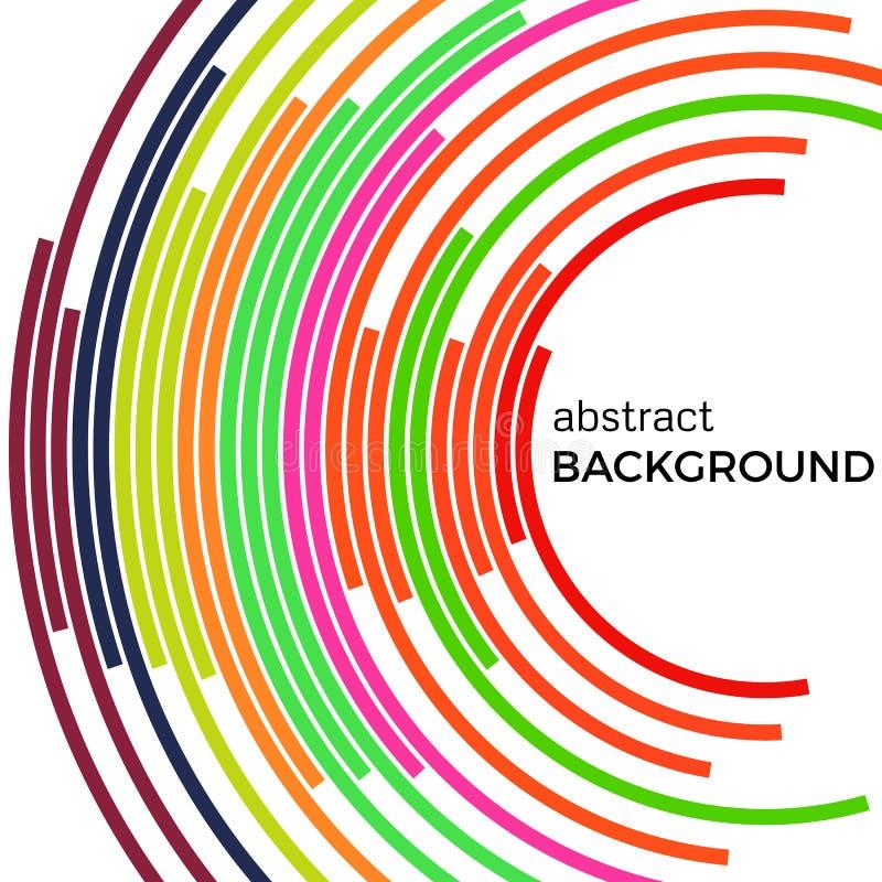 Abstrakter Hintergrund mit bunten Linien des hellen Regenbogens Farbige Kreise mit Platz für Ihren Text vektor abbildung