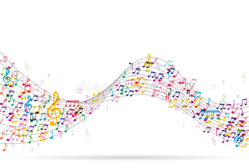 Abstrakter Hintergrund mit bunten Musikanmerkungen lizenzfreie stockbilder
