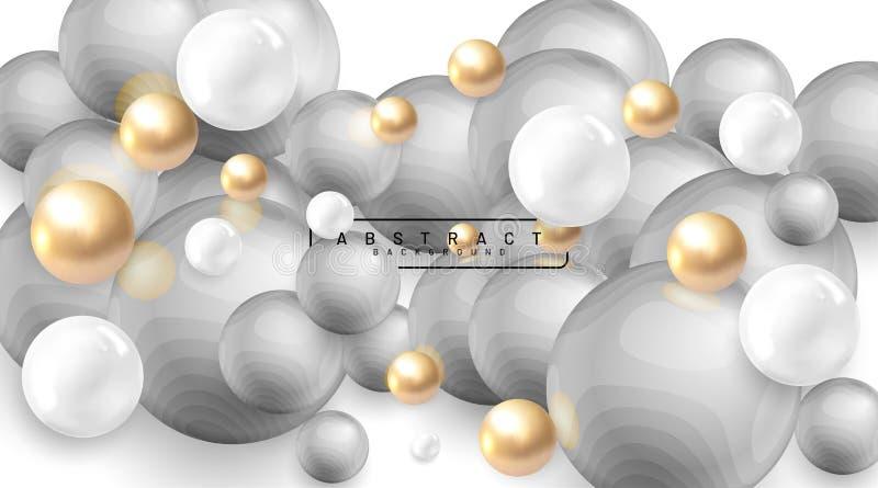 Abstrakter Hintergrund mit 3D-Feldern Gold- und Weißblasen Vektor-Abbildung einer texturierten Kugel mit grauen Wellen Überschnei lizenzfreie abbildung