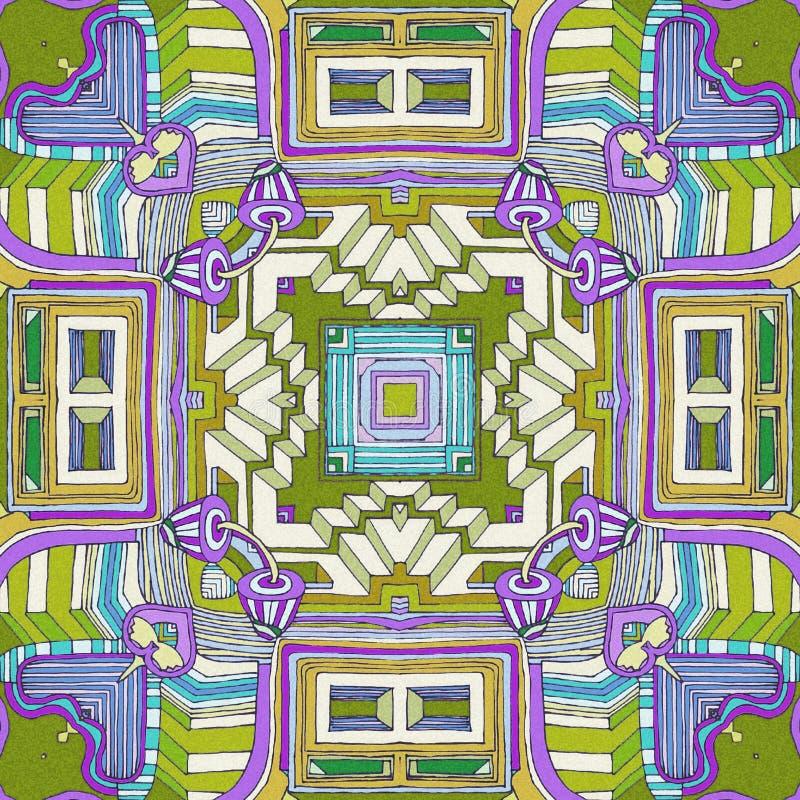 Abstrakter Hintergrund mit den grünen, blauen, violetten und gelben Farben lizenzfreie abbildung