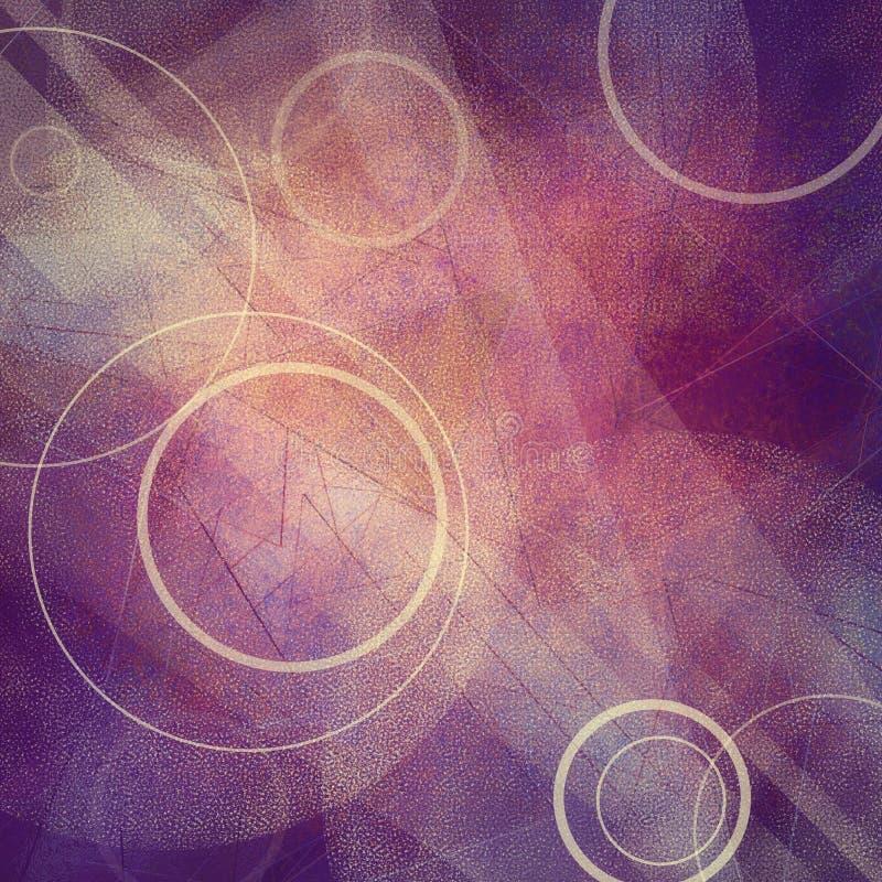 Abstrakter Hintergrund mit den Kreisen, die auf Dreiecke und Winkel im gelegentlichen artsy Muster schwimmen lizenzfreie abbildung