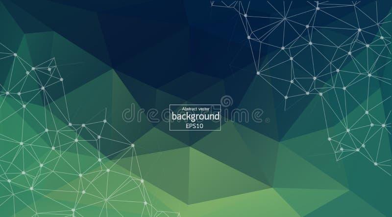 Abstrakter Hintergrund mit dreieckigen Zellen für Design Hellgrüne digitale Illustration mit Polygonen auf einem dunklen Hintergr lizenzfreie abbildung