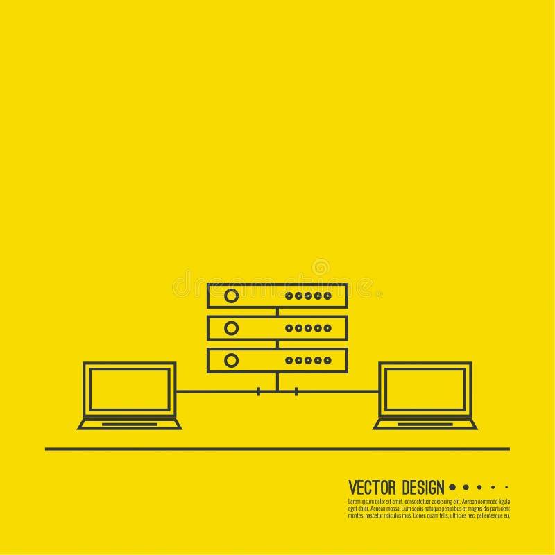 Abstrakter Hintergrund mit einem Netzwerk-Server stock abbildung
