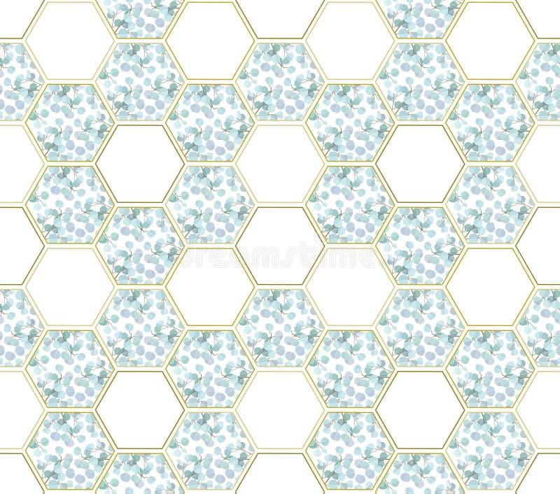 Abstrakter Hintergrund mit Eukalyptusniederlassungen und Hexagonzahlen stockfotos