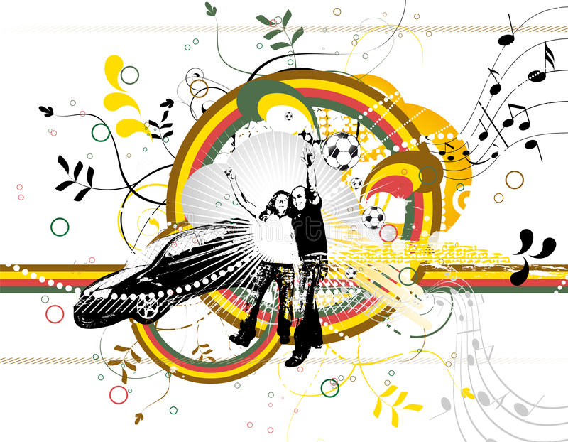 Abstrakter Hintergrund mit Farbe Formen und silhouet lizenzfreie abbildung