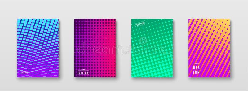 Abstrakter Hintergrund mit Farbelement-Halbtonbeschaffenheit Helles geometrisches Steigungsmuster-Plakatdesign Tendenz minimal lizenzfreie abbildung