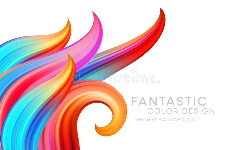 Abstrakter Hintergrund mit Farbfantastischen Wellen und Blumenrollen Modernes buntes Flussplakat Wellen-Flüssigkeitsform Kunst stock abbildung