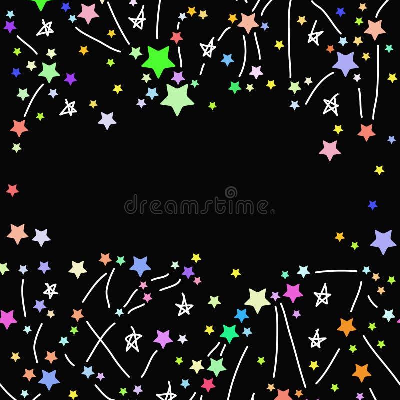 Abstrakter Hintergrund mit farbigem hellem Sternrahmen für Text auf schwarzem Hintergrund Vektor lizenzfreie abbildung